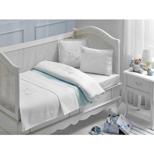 Набор в кроватку с покрывалом Tivolyo Stork (голубое)