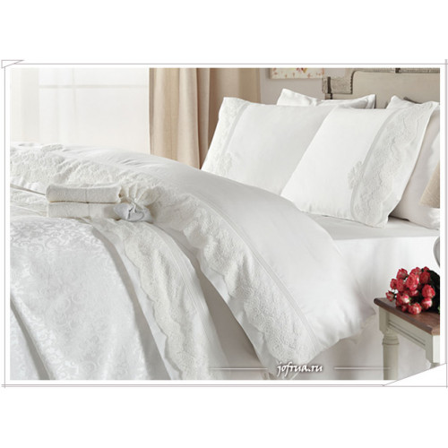 Свадебное постельное белье Anna (белое) евро
