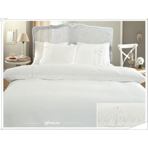 Свадебное постельное белье Caroline (белое) евро