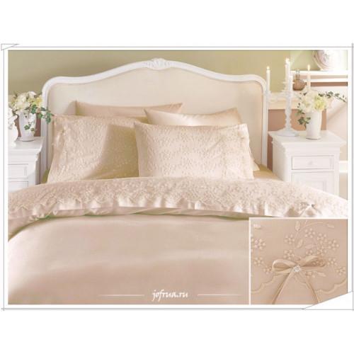 Свадебное постельное белье Gelin (бежевое) евро
