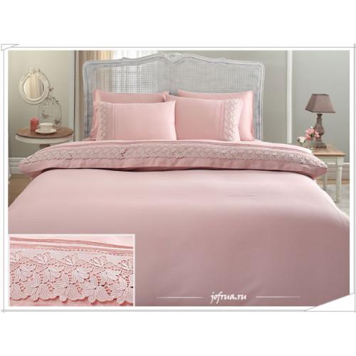 Свадебное постельное белье Lilya (розовое) евро