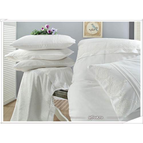 Свадебное постельное белье Gelin Home Tomurcuk (белое) евро