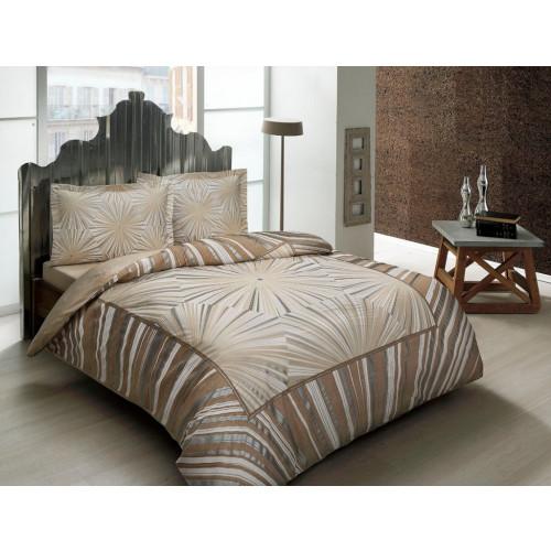 Постельное белье сатин TAC Venus коричневый 1.5 спальное