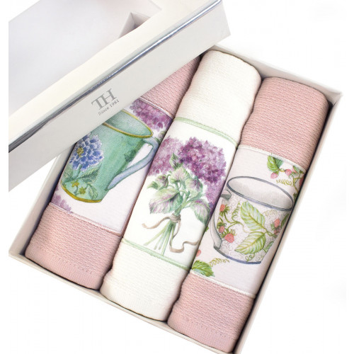 Салфетки для кухни Tivolyo Bergamo (3 предмета, розовый) 30x50