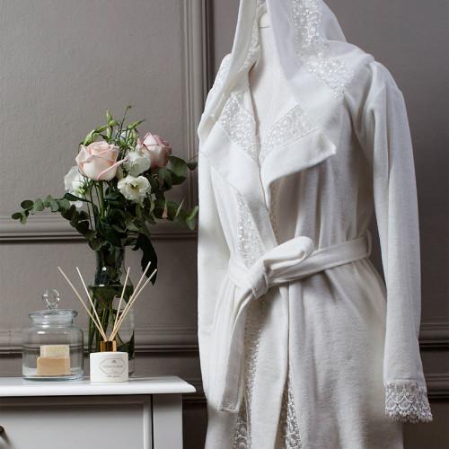 Халат Tivolyo Isabella (белый) размер S-M + полотенце 50x100