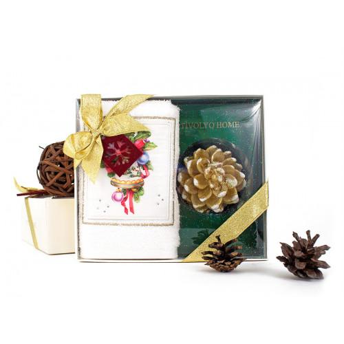 Новогодний набор Tivolyo Home Ribbon (салфетка 30х50 + свеча)