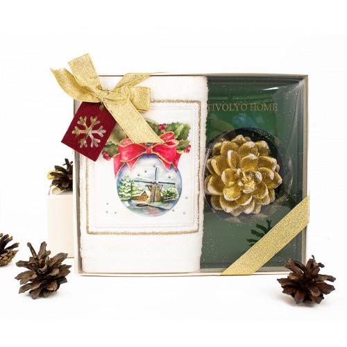 Новогодний набор Tivolyo Home Snowbell (салфетка 30х50 + свеча)
