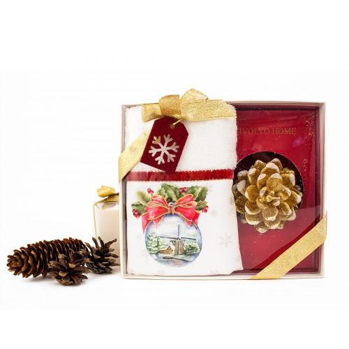 Новогодний набор Tivolyo Home Snowbell Velvet (салфетка 30х50 + свеча)