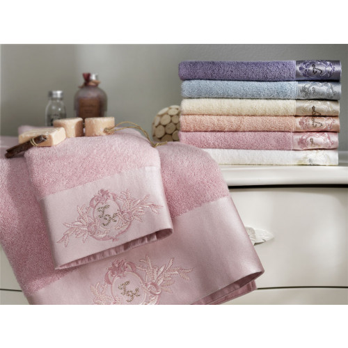 Набор полотенец Tivolyo Crystal Bamboo (3 предмета, розовый)