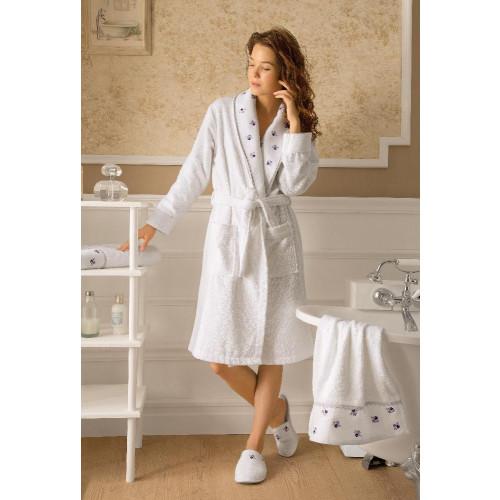 Подарочный набор Tivolyo Piccolo S-M лиловый (халат + тапочки + полотенце)