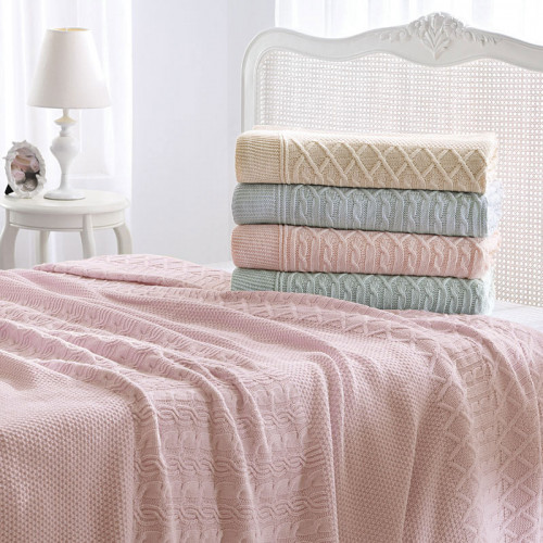 Вязаный плед Tivolyo Home Luna (розовый) 220x250