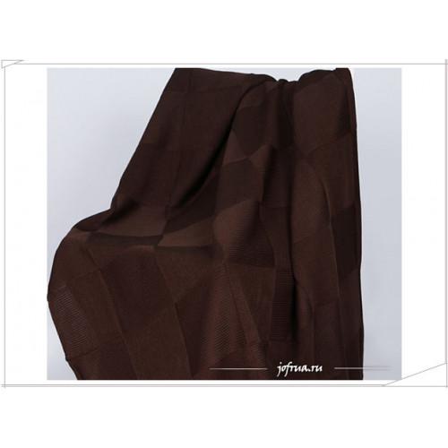 Вязаный плед Valtery Квадрат (шоколадный)