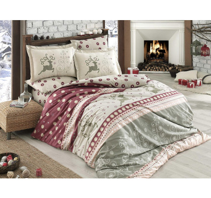 Постельное белье Hobby Home поплин Ludovica (бордовый)