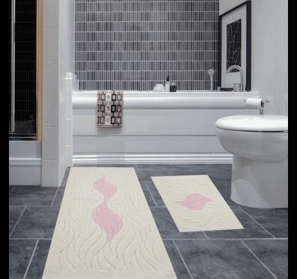 Набор ковриков Karven Dalga пудра (50x60+60x100)