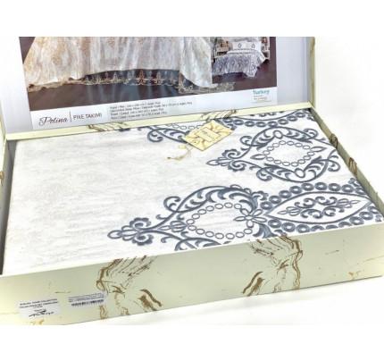 Комплект с покрывалом Evelina Polina крем-серый 7 предметов