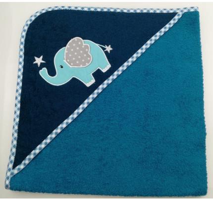 Полотенце-конверт Valtery Слоненок с сердечком (сине-зеленый) 70x70