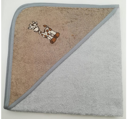 Полотенце-конверт Valtery Жираф (серый) 70x70