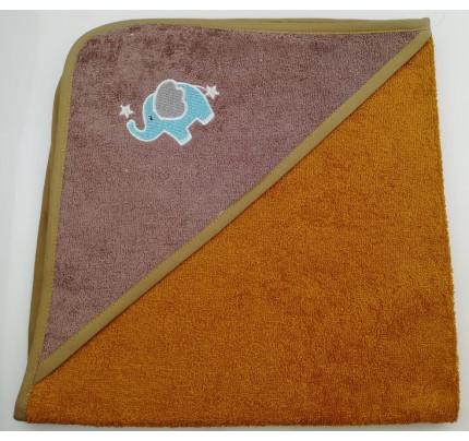 Полотенце-конверт Valtery Слоненок (горчичный) 70x70