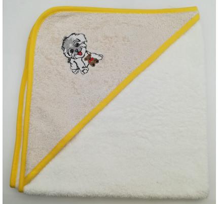 Полотенце-конверт Valtery Собачка (бежевая) 70x70