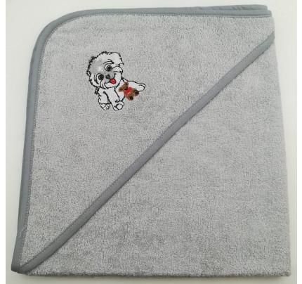 Полотенце-конверт Valtery Собачка (серая) 70x70