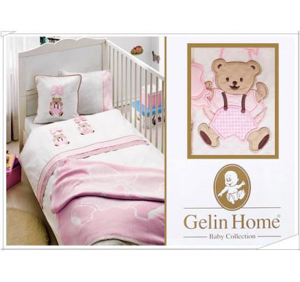 Детское белье в кроватку + вафельное покрывало Gelin Sallanan BEBE (розовый)