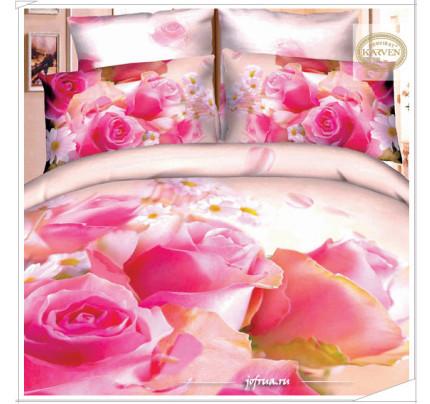Постельное белье Karven 417 Гармония Лета: розы и ромашки