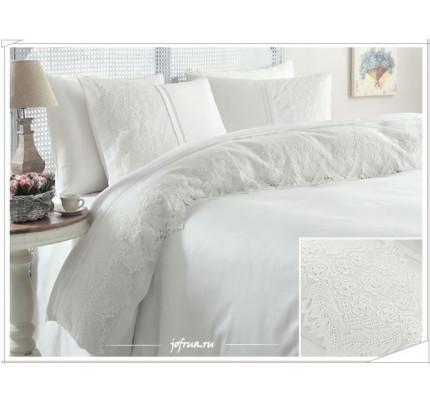 Свадебное постельное белье Gelin Home Donna (белое) евро