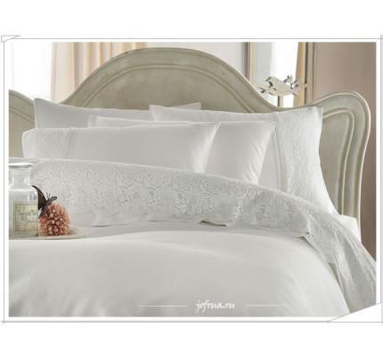 Свадебное постельное белье Evin (белое) евро