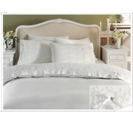 Свадебное постельное белье Gelin (белое) евро
