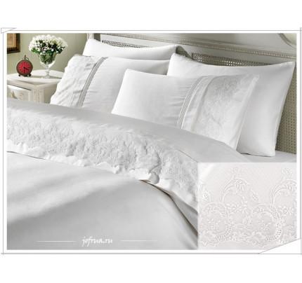 Свадебное постельное белье Gelin Home Ezgi (белое) евро