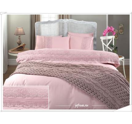 Свадебный набор Gelin Home Selin с пледом (розовый) евро