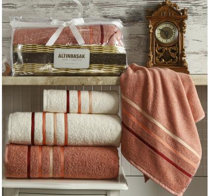 Набор полотенец Altinbasak Dolce (кремовый-грязно-розовый, 4 предмета)