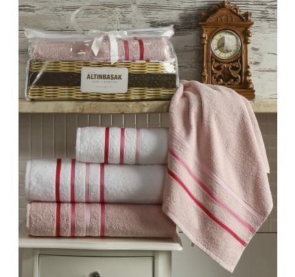 Набор полотенец Altinbasak Dolce (белый-розовый, 4 предмета)