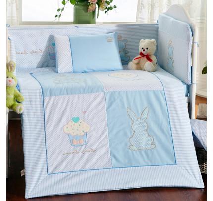 Бортики в кроватку Arya Rabbit (2 предмета, голубой)