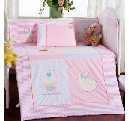Бортики в кроватку Arya Rabbit (2 предмета, розовый)