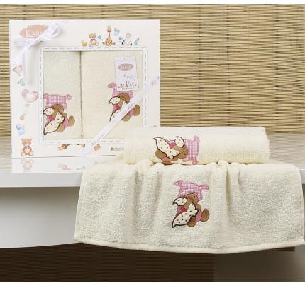 Набор полотенец Karna Bambino Teddy (2 предмета, молочный)