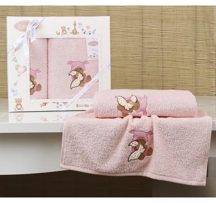 Набор полотенец Karna Bambino Teddy (2 предмета, розовый)
