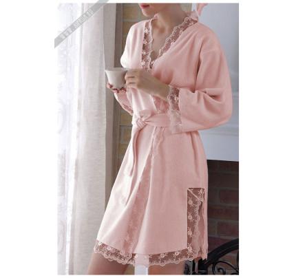 Халат Tivolyo Bianca (розовый) размер S-M + полотенце 50x100
