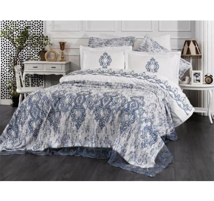 Комплект с покрывалом Evelina Polina крем-голубой 7 предметов