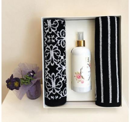 Набор полотенец Tivolyo Casablanca Flower (40x60, 2 предмета + ароматизатор) черный
