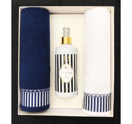 Набор полотенец Tivolyo Casablanca Line (40x60, 2 предмета + ароматизатор) темно-синий