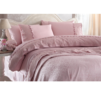 Свадебное постельное белье Gelin Home Charlotte (розовое) евро