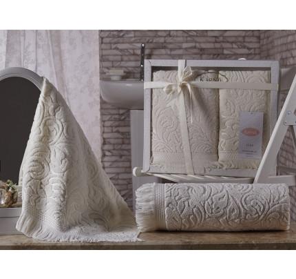 Набор полотенец Karna Esra (кремовый, 2 предмета)