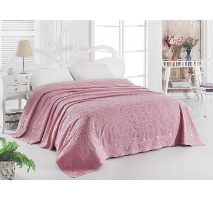Махровая простынь Karna Esra розовый