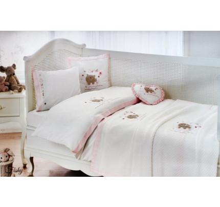 Детское постельное белье в кроватку Tivolyo Home Fishy (розовый)