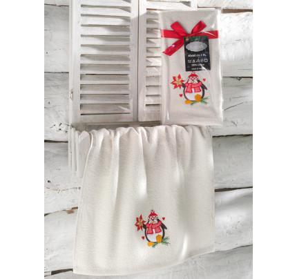 Новогоднее полотенце-салфетка Karna Noel (кремовый) V4 40x60