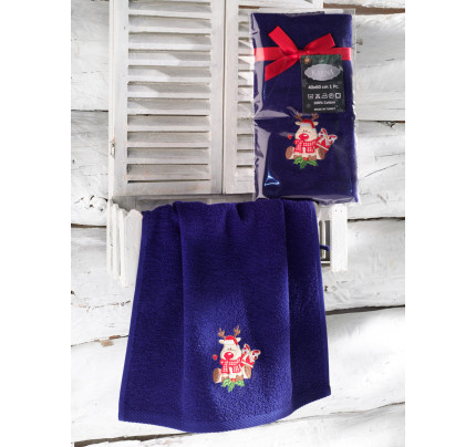 Новогоднее полотенце-салфетка Karna Noel (синий) V2 40x60