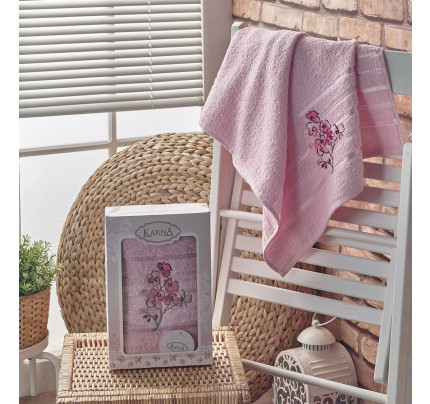 Полотенце в коробке Karna Papilon (светло-розовое, 50x90)