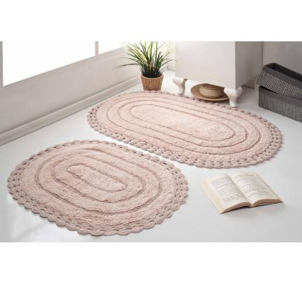Набор ковриков для ног Modalin Yana (пудра) 50x70+60x100