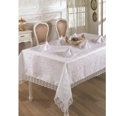 Скатерть с салфетками Karna Leda (белая) 160x220